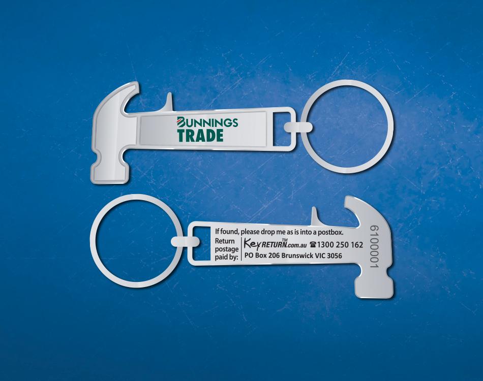 Image of Bunnings keyring Front & Back Personlised Keyring