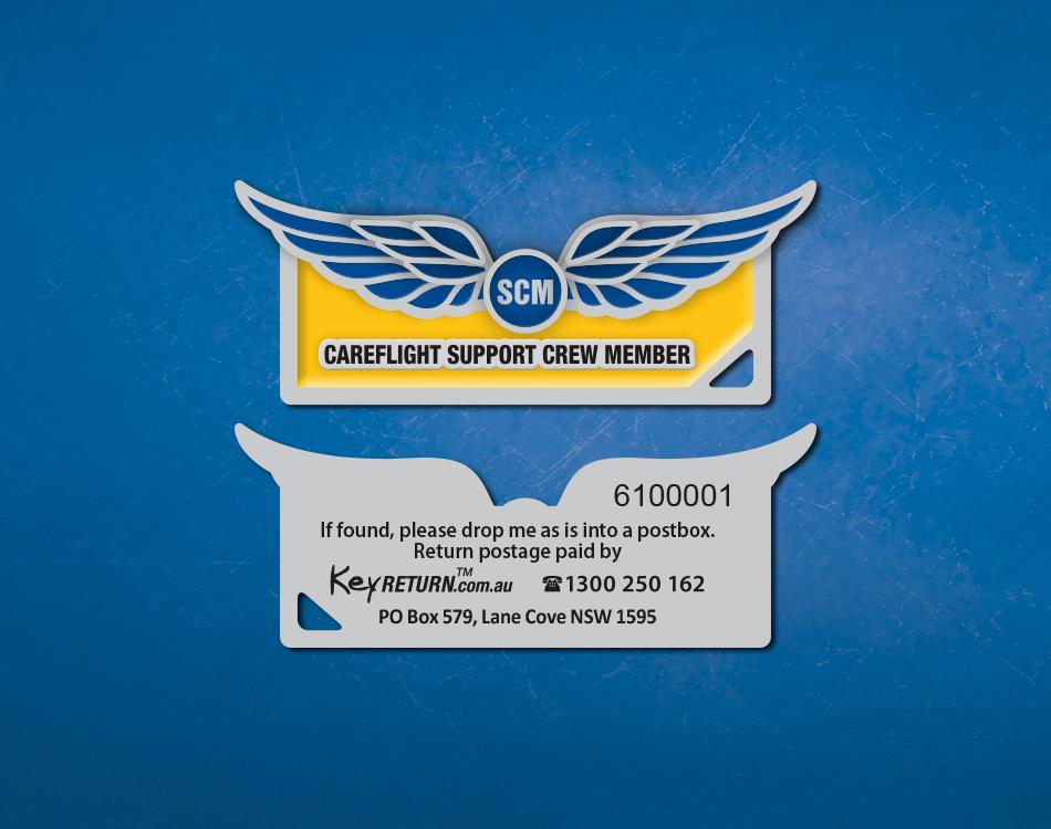 CareFlight branded metal keyring Front & Back