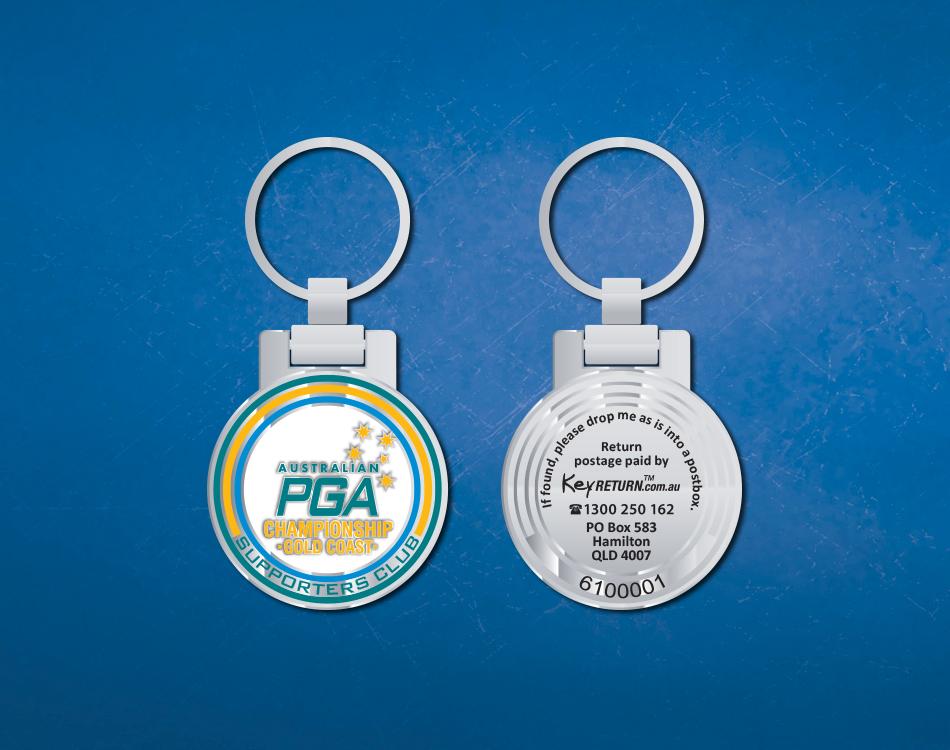 PGA branded keyring Front & Back
