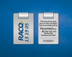 RACQ personalised keyring Front & Back