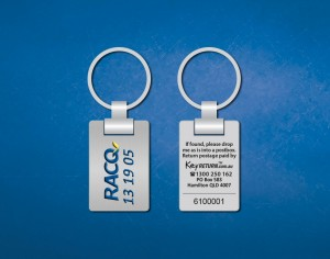 RACQ personalised metal keyring Front & Back