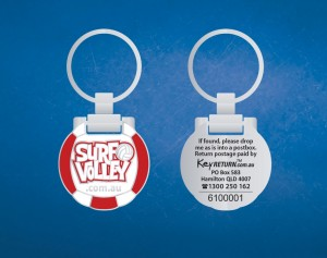 branded key ring -surf-volley-front-back