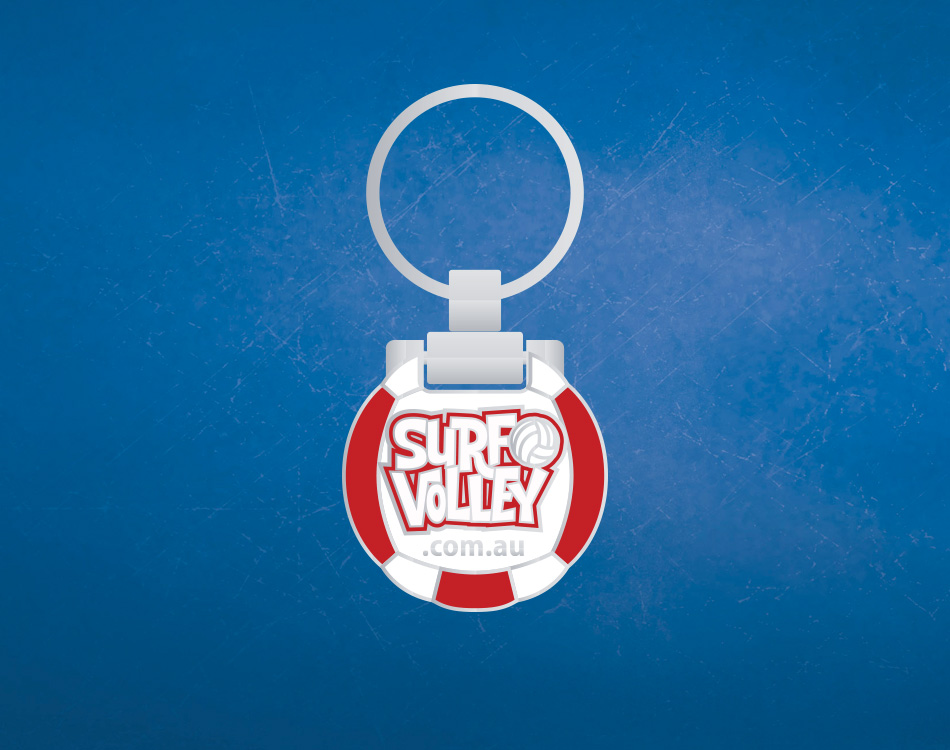 branded keyring -surf-volley-front